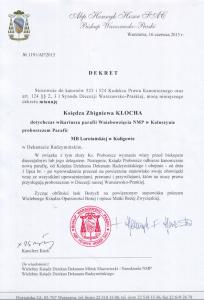 dekret proboszcz Zbigniew Kloch